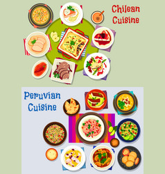 Chilean and peruvian healthy food icon set vector