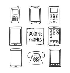 Doodle phones set old modern smartphones - vector