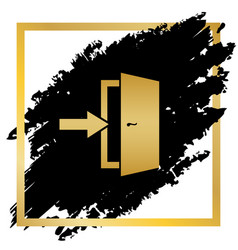 Door exit sign golden icon at black spot vector