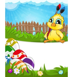 Easter scene with chicken and colorful eggs vector