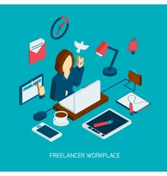 Freelance workplace isometric vector