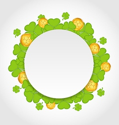 Greeting card with shamrocks and golden coins for vector image vector image