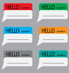 Hello my name is sticker set color vector image