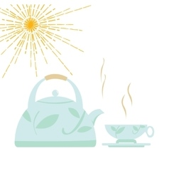 Kettle with boiling water and a cup vector