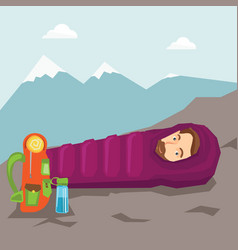 Man sleeping in sleeping bag in the mountains vector