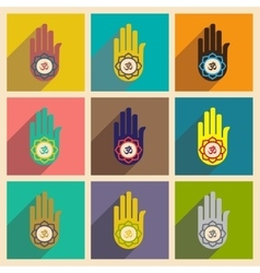 Modern flat icons collection with long shadow hand vector