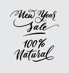 new year sale and natural handwriting calligraphy vector image vector image