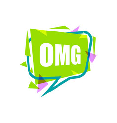 Omg speech bubble with expression text vector