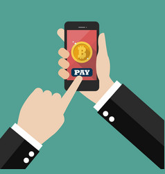 Online bitcoin payment concept vector