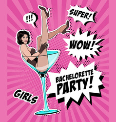 pin up girl in martini glass vector image