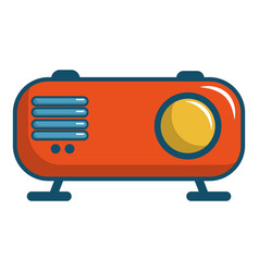 Retro orange radio receiver icon cartoon style vector