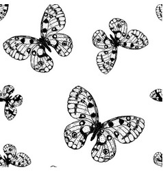 Seamless pattern from black and white butterfly vector