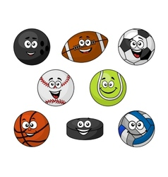 Set of cartoon sports equipment vector image