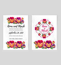 Set of floral wedding invitations design vector