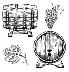 set of wooden wine barrels grape grape leaf vector image vector image