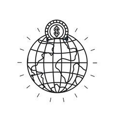 Silhouette money box in globe earth world shape vector