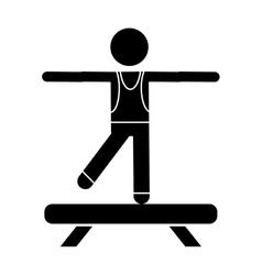Silhouette sportman artistic gymnastics vector