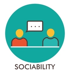 Sociability message communication line icon vector