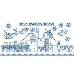 Spain balearic islands winter city skyline merry vector
