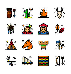 thin line american indian icon vector image vector image