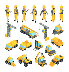 transport and workers for construction buildings vector image vector image