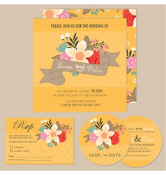 Wedding invitation set with flowers vector