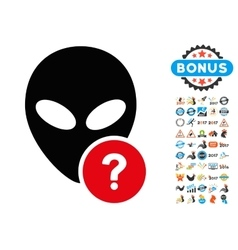 Alien Status Icon with 2017 Year Bonus Symbols vector image