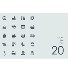 Set of sea port icons vector
