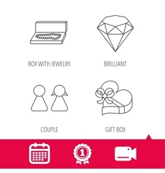 Brilliant gift box and couple icons vector