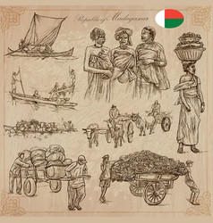 Madagascar - pictures of life travel set vector