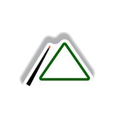 stylish icon in paper sticker style billiard cue vector image