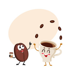 Funny characters of crazy coffee bean and juggling vector