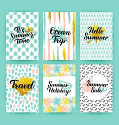 Summer time trendy posters vector