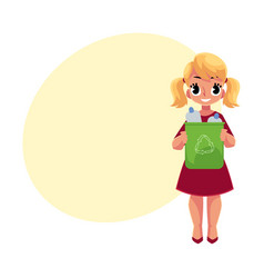 Girl holding trash bin with plastic bottles vector