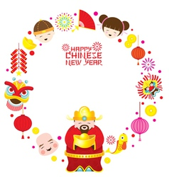 Chinese new year text with icons and chinese god vector