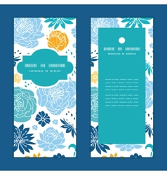 Blue and yellow flowersilhouettes vertical frame vector