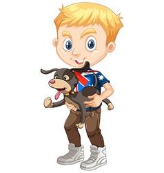 Little boy holding a dog vector image