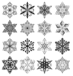 Snowflake black set vector