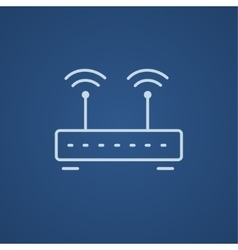 Wireless router line icon vector