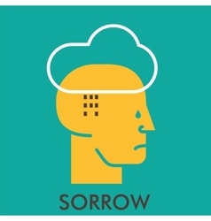 Sorrow cloud rain teardrop line icon with flat vector