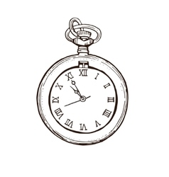 Open pocket watch in vintage style hand drawn vector