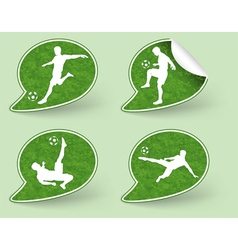 Collect sticker with football players icon vector