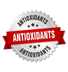 Antioxidants 3d silver badge with red ribbon vector