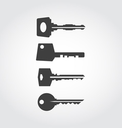 Keys black icon set vector