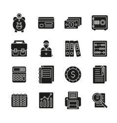 Accauntant black silhouette icon set vector