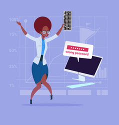 Angry african american business woman inputting vector