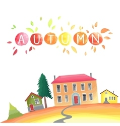 Autumn countryside with houses vector