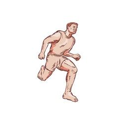 Barefoot runner running marathon etching vector