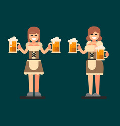 Bavarian girl oktoberfest beer fest vector