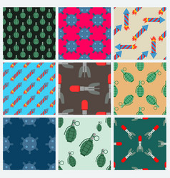Bomb and rockets set seamless pattern vector